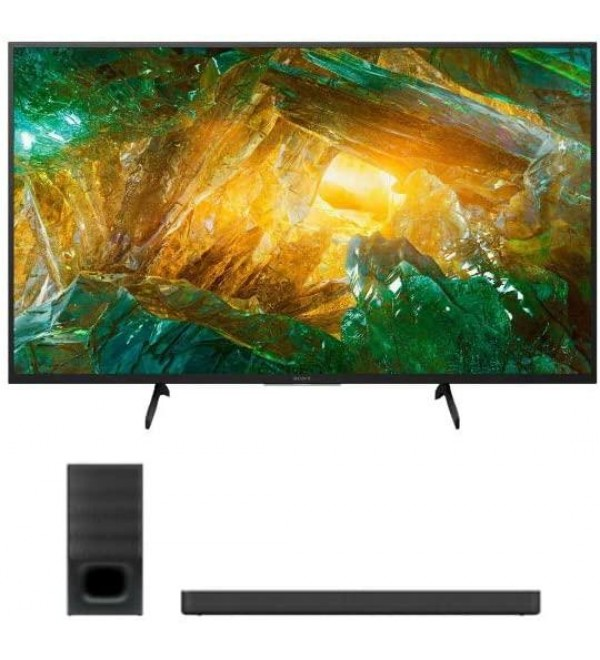 XBR-49X800H 49-Inch 4K Ultra HD Smart LED TV with HDR and Alexa Compatibility (2020 Model) and HTS350 2.1-Channel Soundbar with Powerful Wireless Bluetooth Subwoofer Bundle (2 Items)