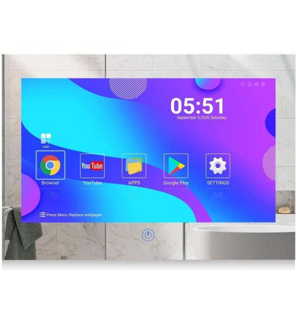 Haocrown 15.6-inch Mirror Bathroom TV, IP 66 Waterproof LED Full HD Smart Television, 2020 Model Android 10.0 System with Built-in Wi-Fi Bluetooth