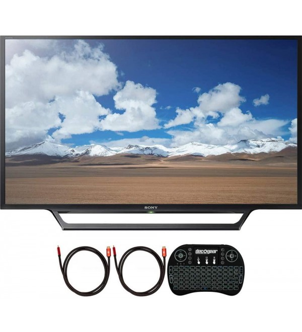 KDL-32W600D 32-Inch Class HD TV with Built-in Wi-Fi Bundle with Deco Gear 2.4GHz Wireless Backlit Keyboard and 2X Deco Gear 4K Copper 6 FT HDMI Cable