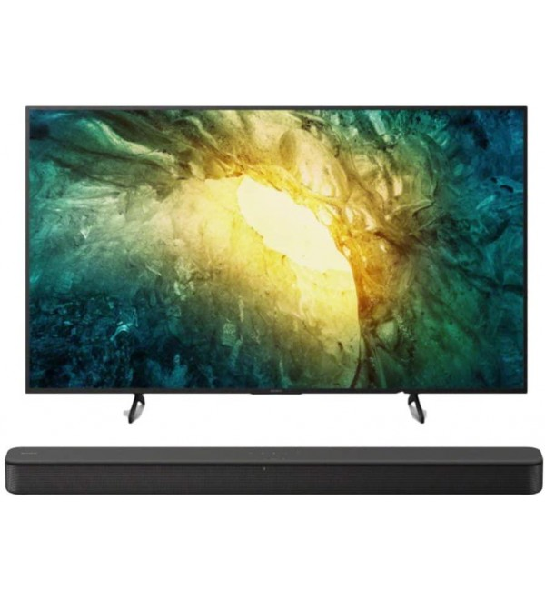 KD-55X750H 55-inch 4K UHD Smart LED TV (2020 Model) with HDR and HT-S100F 2.0 Channel Soundbar with Integrated Tweeter Bundle (2 Items)